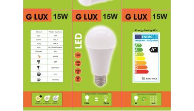 LED Lemputė GR-LED-A60-15W 3000K 1491 G.LUX