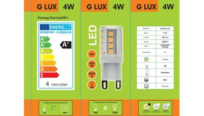 LED Lemputė GR-LED-G9-4W 1308 G.LUX